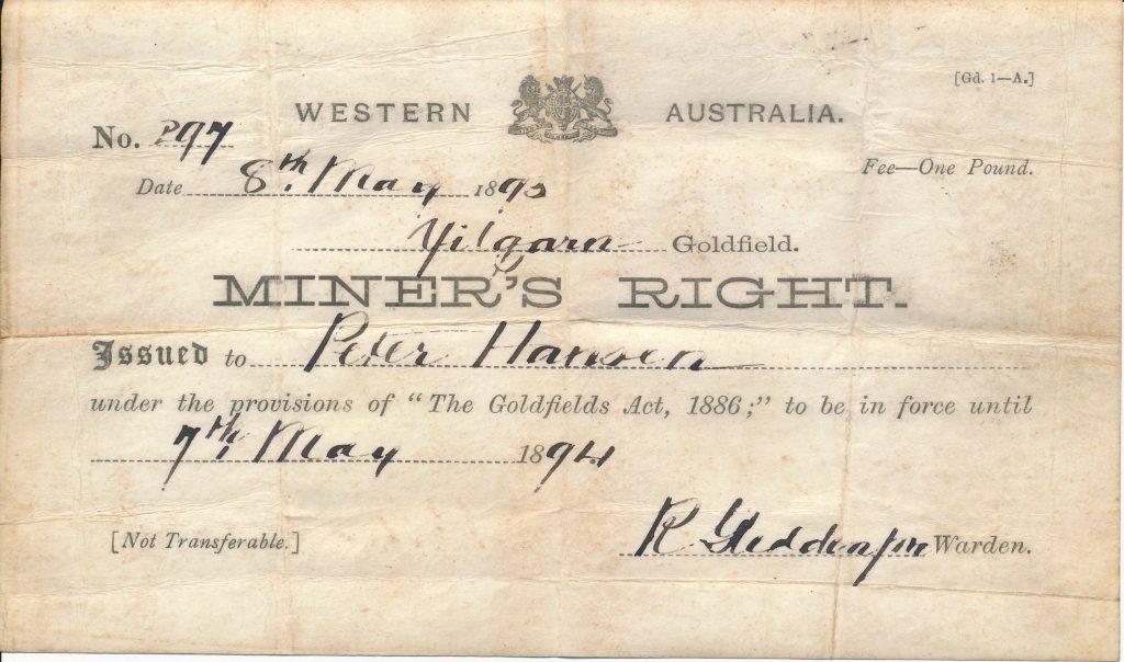 Hans Peder Hansens tilladelse til guldgravning i Australien