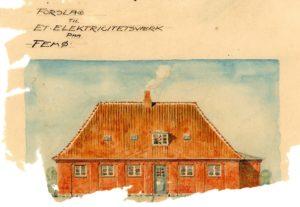 Arkitektens tegning af O F Hansens elværk som havde planlagt at opføre ved Femø Mølle