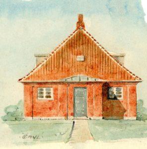 Arkitektens tegning af det planlagte elværk ved Femø Mølle